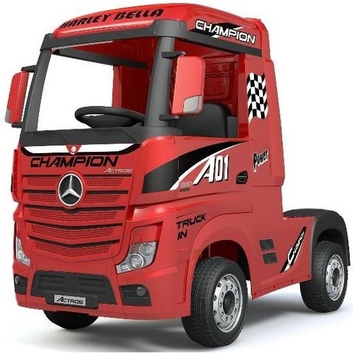 Mercedes-Benz Actros Race Truck, 12V Electric Ride On Toy - Red