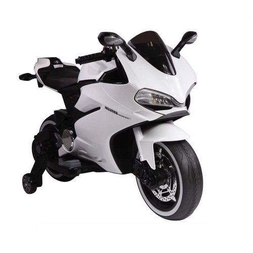 Ducati Motorbike Replica, 12V Electric Ride On Toy - White Pre-Order ETA 28th Feb