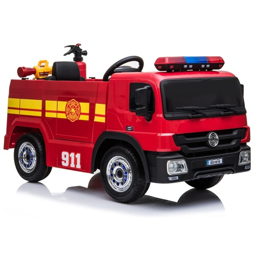 Fire Rescue Truck, 12V Electric Ride On Toy for Kids - PRESALE - Red